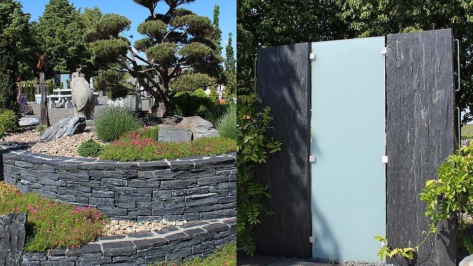 Trockenmauer und moderener Sichtschutz aus Schiefer