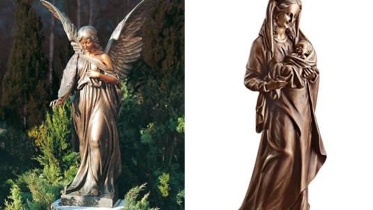 Grabschmuck mit Symbolcharakter: Engel und Maria mit Kind auf dem Arm.