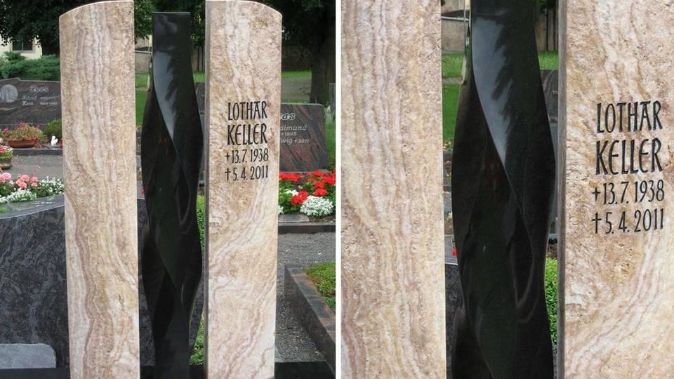 Denkmal aus Rosenquarz u. schwarzem Naturstein