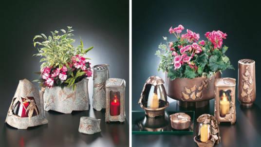 """Grabschmucksets mit Schale, Vase und """"Ewiges Licht"""" in beige und braun Tönen."""