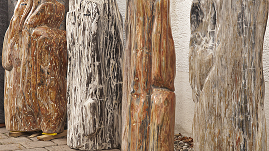 Gartendekoration der besonderen Art: versteinertes Holz, bzw. fossilen Hölzer.