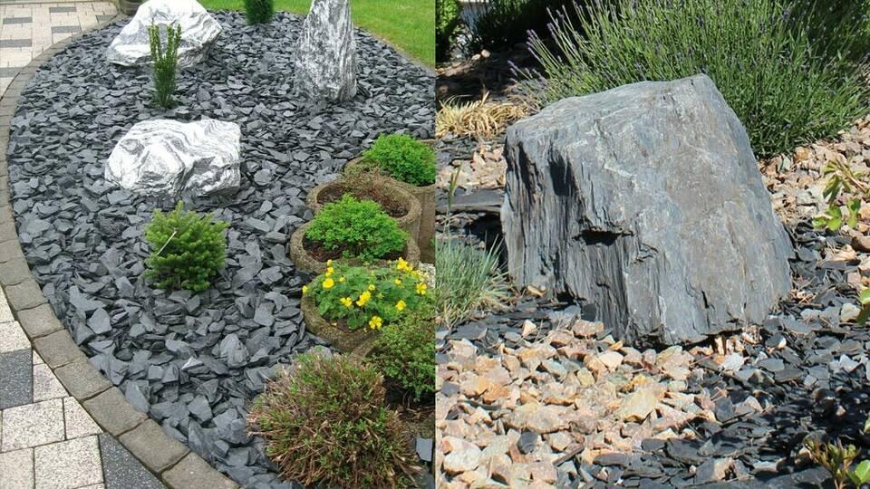 Gartengestaltung mit Schieferchips,  Zebrafindling, Kiesel und Basalt