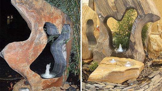 Quellsteine in organischer Form aus Ozeanfindlingen als Zimmerbrunnen oder für den Garten.