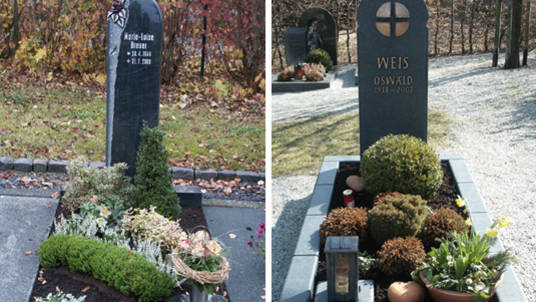 Gedenkstein aus polierten Granit mit plastischem Ornament und dunkler Granit mattgeschliffen mit Bronze-Ornament.