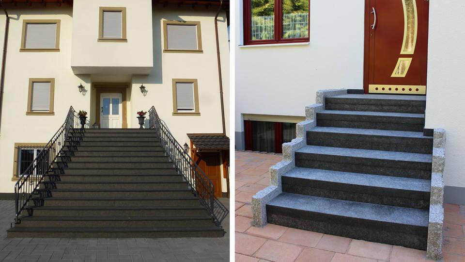 Außentreppe aus Nero Assoluto und Blockstufentreppe aus Nero Impala