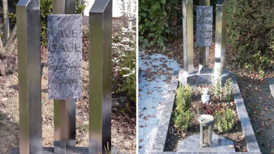 Moderner Gedenkstein: Granit kombiniert mit Edelstahl.