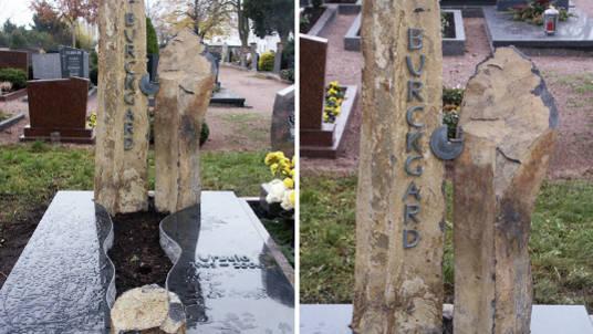 Familien-Gedenkstein aus dunkelem Granit und Naturstein Stelen.