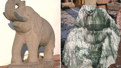 "Links: Steinfigur ""Elefant"" aus Granit. Rechts: Findlinge Quarzit ""Atlantis""."