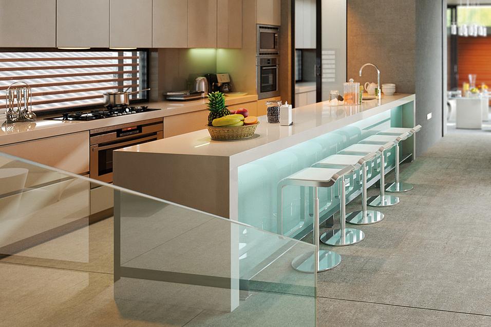 Massive Küchentheke aus Naturstein - heller Marmor