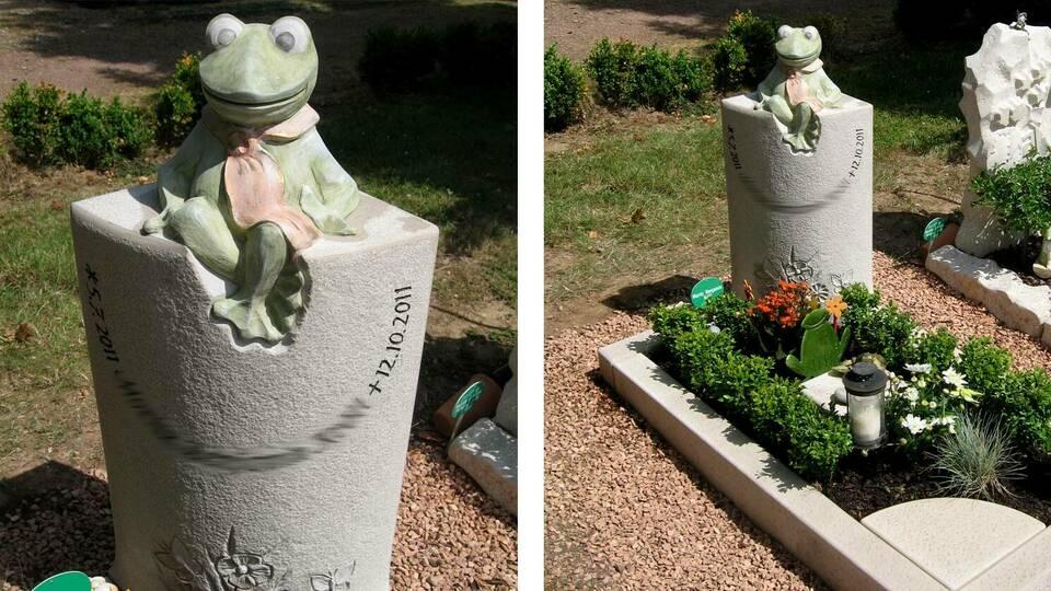 Gedenksteine Frosch nach dem Kuscheltier angefertig