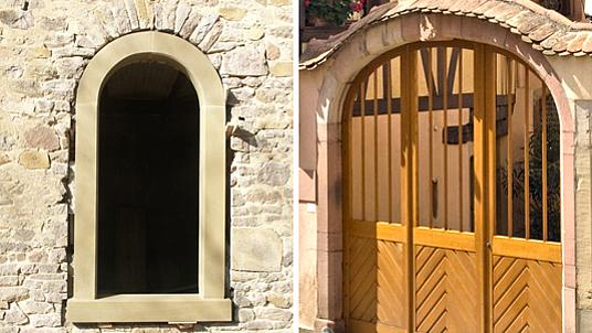 Restauration von Fenstern und Torbogen mit Sandstein.