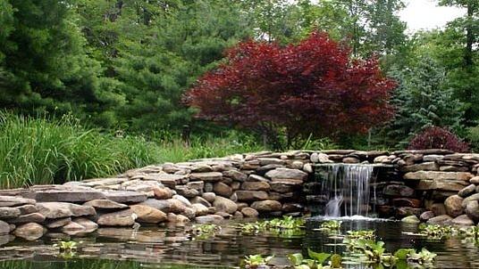 Natursteinmauer als Ursprung für einen Wasserfall und Hintergrund der Teichlandschaft